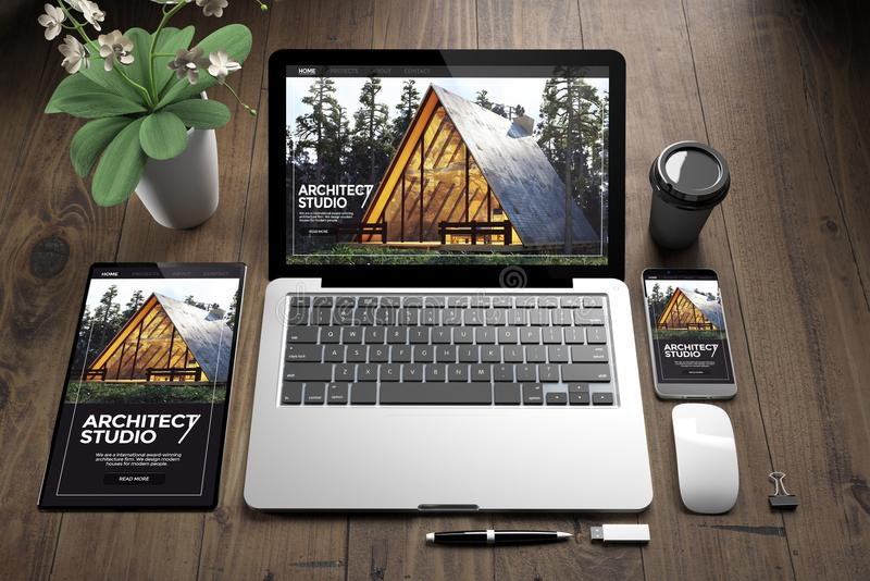 devices on wooden fllor architect website royalty free illustration