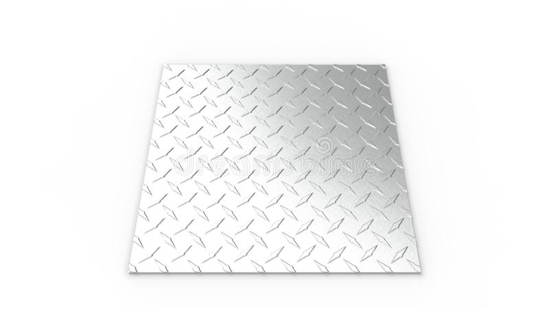 3d rendering of a diamond plate isolated in white studio background royalty free illustration