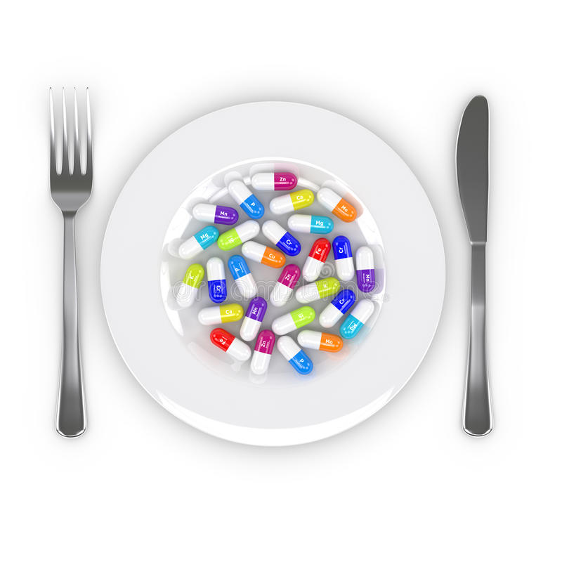 3d rendering of dietary supplements on plate isolated over white. 3d rendering of dietary supplements on plate with fork and knife isolated over white background stock illustration
