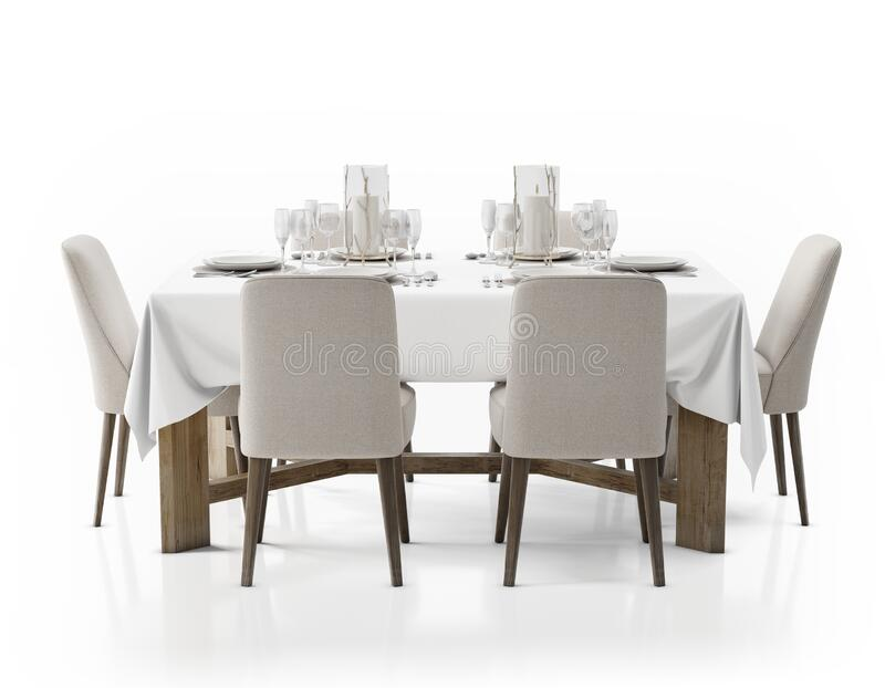 3d Rendering Of A Dining Table With Six Chairs Isolated On A White Background Stock Illustration Illustration Of Wooden Style 193913151