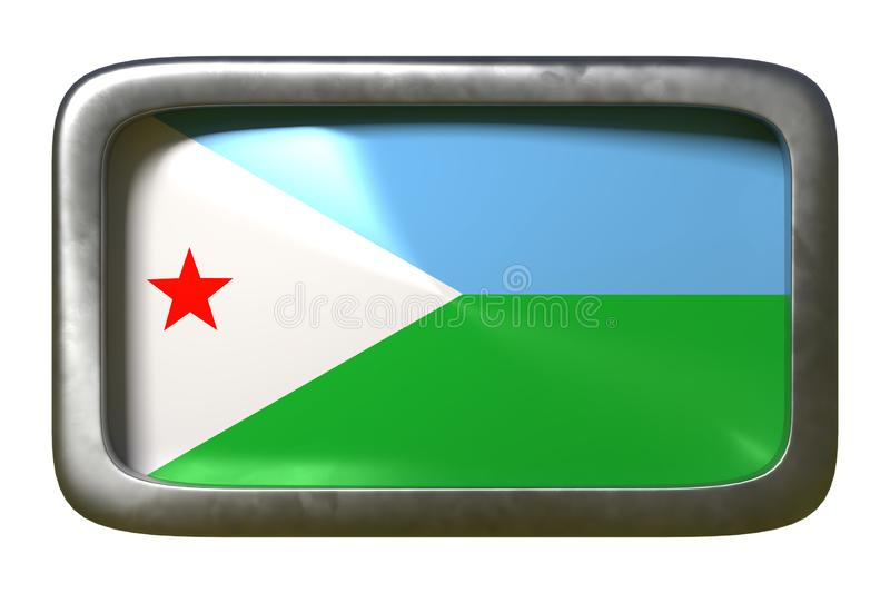 Djibouti flag sign. 3d rendering of a Djibouti flag on a rusty sign isolated on white background vector illustration