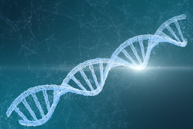 3d rendering, DNA z emanacyjnym linii tłem