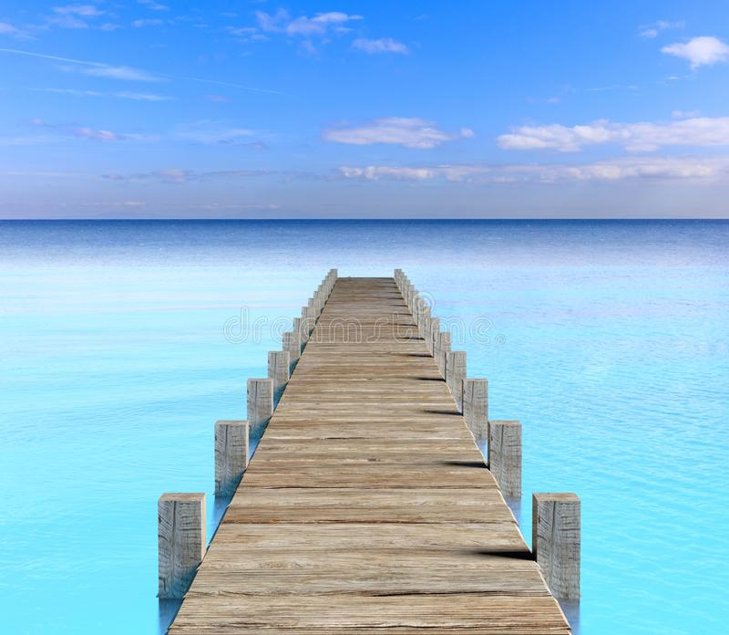 3d rendering dock in the sea. 3d rendering wooden dock in the sea stock illustration