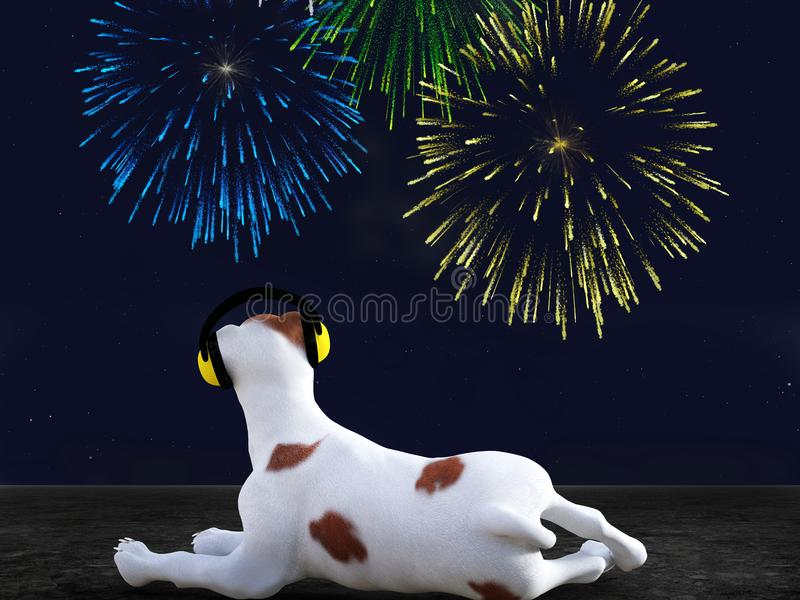 3D rendering of dog wearing hearing protection looking at fireworks. stock illustration