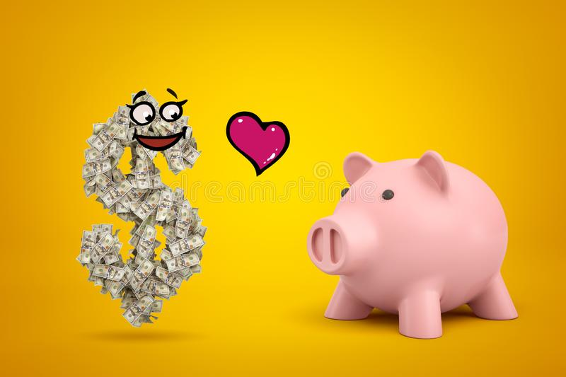 3d rendering of dollar symbol made up of many dollar notes and with funny cartoon face, and cute pink piggy bank with. Little red cartoon heart in air between royalty free stock photo