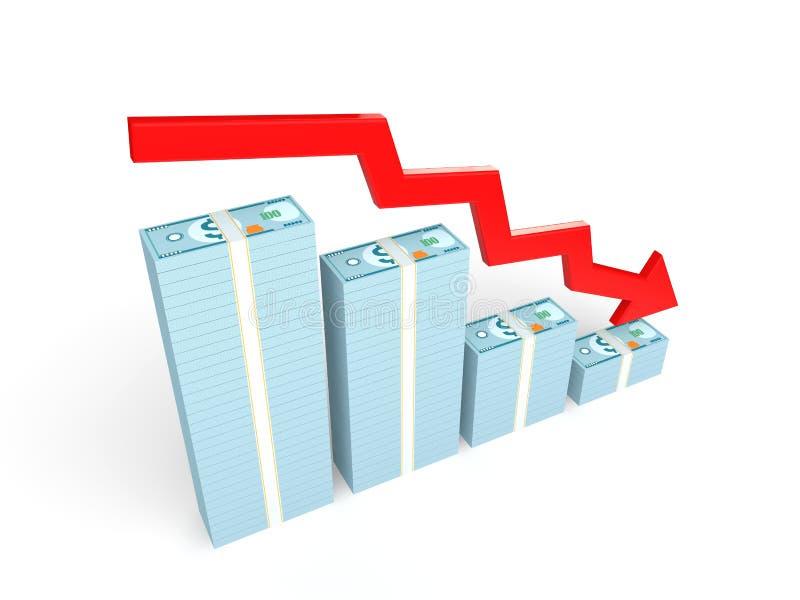 3D downward arrow and decreasing money stacks. 3D rendering of downward arrow and decreasing money stacks royalty free illustration