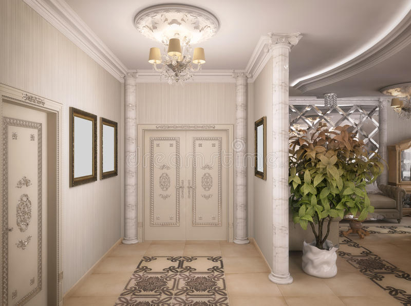 3D rendering of a drawing room, corridor and kitchen in classical style. 3D illustration of a drawing room, corridor and kitchen in classical style royalty free illustration