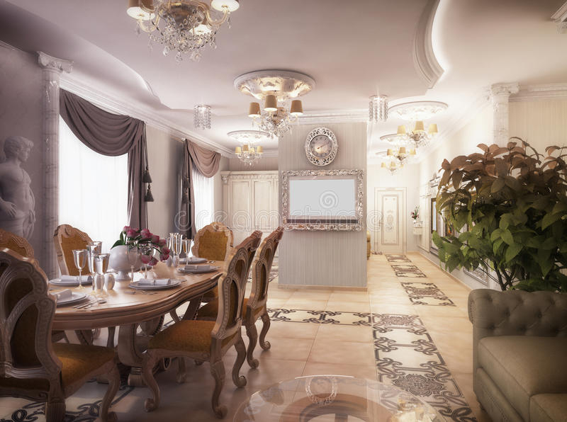 3D rendering of a drawing room, corridor and kitchen in classical style. 3D illustration of a drawing room, corridor and kitchen in classical style stock illustration