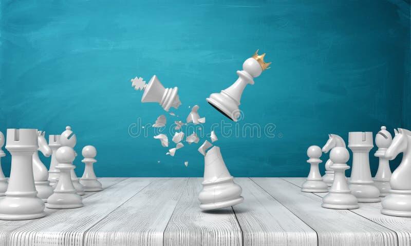 3d rendering drewniany biurko z małym koronowanym szachowym pionkiem uderza czarnego szachowego królewiątko i niszczy je zdjęcie stock