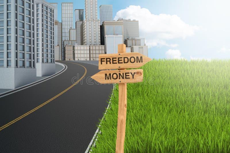 3d rendering drewniany znak który czyta «wolność «wskazuje zielony gazon i «pieniądze «wskazuje betonowa dżungla royalty ilustracja