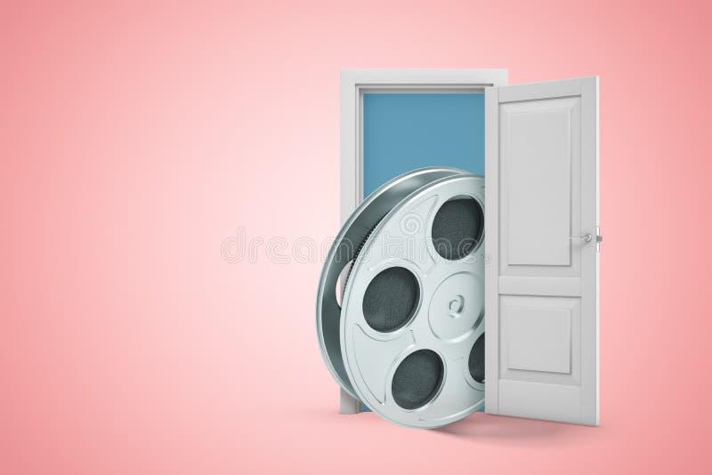 3d rendering duża ekranowa rolka wyłania się od otwarte drzwiego na różowym copyspace tle ilustracja wektor