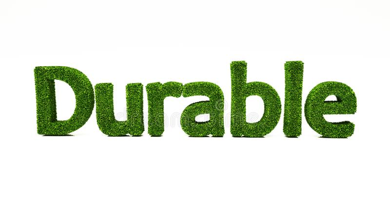 3D rendering DURABLE word made of green grass. Save the earth concept. Eco green grass wording texture good for business and presentation stock illustration