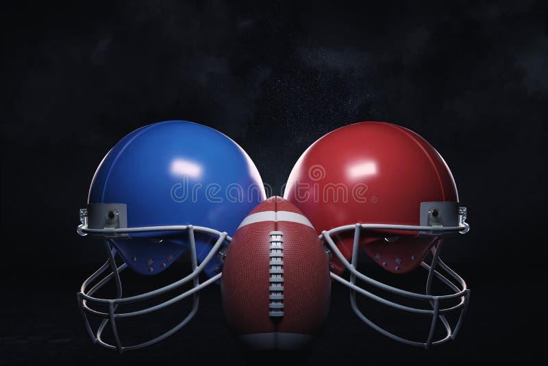 3d rendering dwa hełma różni kolory stoi z obu stron futbol amerykański piłki ilustracji