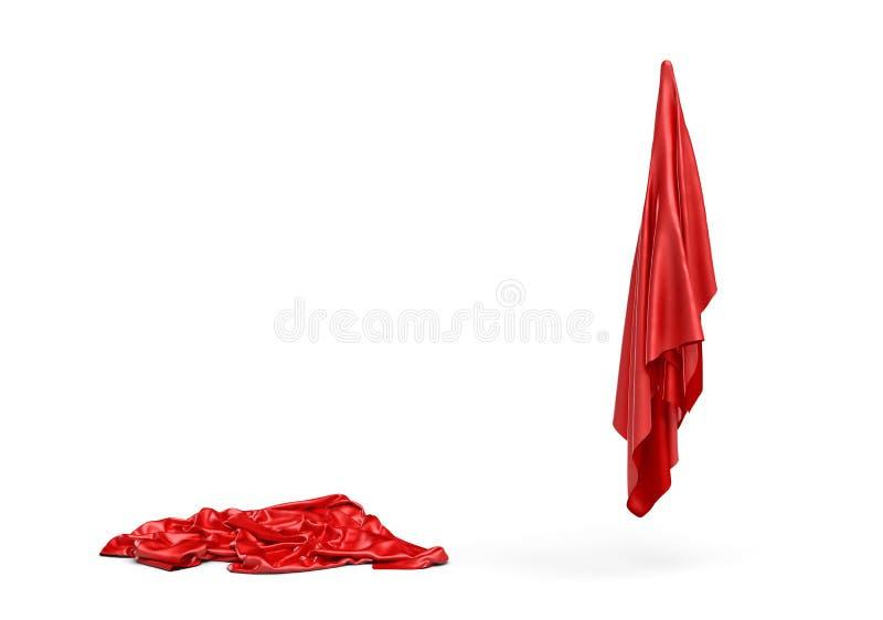 3d rendering dwa kawałka czerwony atłas odziewa jeden jest łgarskim puszkiem i inny robi postaci odizolowywającej na bielu ilustracja wektor
