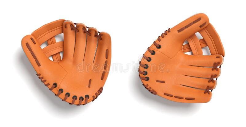 3d rendering dwa leworęcznej pomarańczowej baseball rękawiczki kłama na białym tle w odgórnym widoku ilustracji