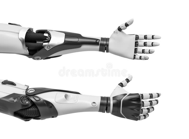 3d rendering dwa robot ręki z rękami relaksował i otwiera dla uścisku dłoni royalty ilustracja