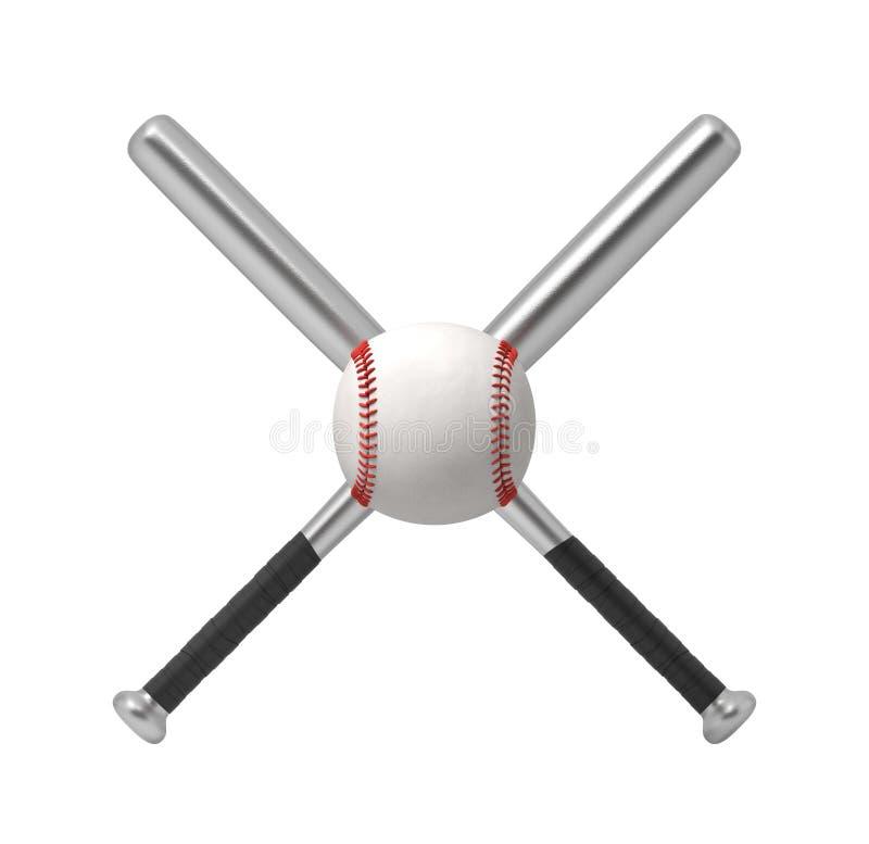 3d rendering dwa stalowego kija bejsbolowego robi przecinającemu kształtowi z gigantycznym białym baseballem przed one ilustracji