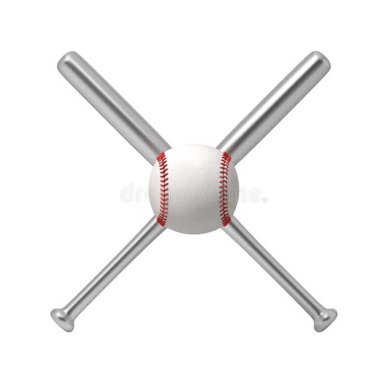 3d rendering dwa stalowego kija bejsbolowego robi przecinającemu kształtowi z gigantycznym białym baseballem przed one royalty ilustracja