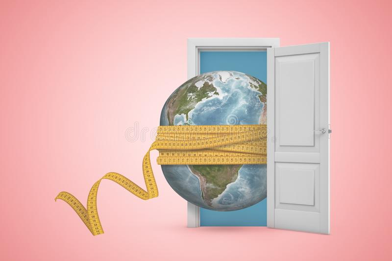 3d rendering of Earth globe covered with yellow measuring tape in white open doorway on light pink background. Digital art. Objects and materials. Nature and vector illustration