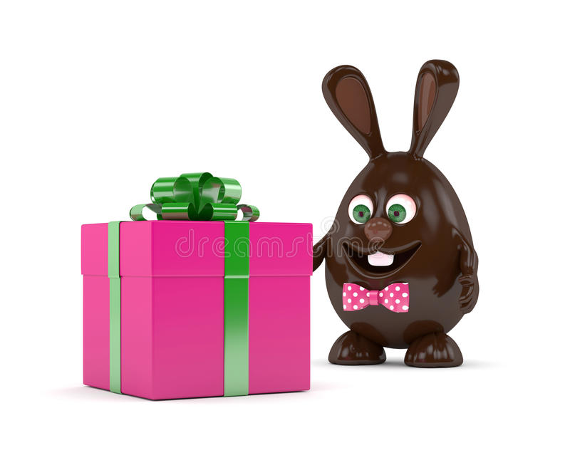 3d rendering of Easter bunny with present. 3d rendering of Easter chocolate bunny with present isolated over white background vector illustration