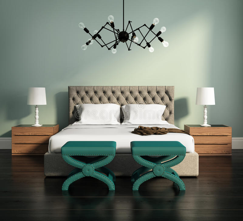 3d rendering of an elegant green bedroom royalty free illustration