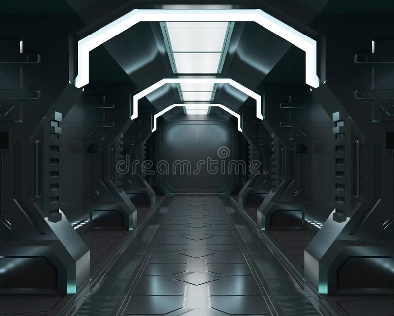 3D rendering elements of this image furnished ,Spaceship white interior ,tunnel,corridor,hallway vector illustration