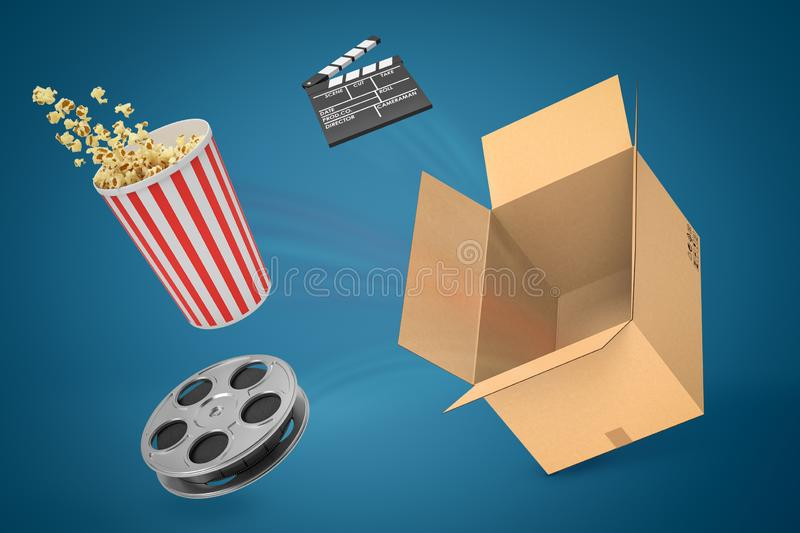 3d rendering of empty cardboard box, clapperboard, film reel and pop corn bucket suspended in air on blue gradient. Background. Cinema night. First night vector illustration
