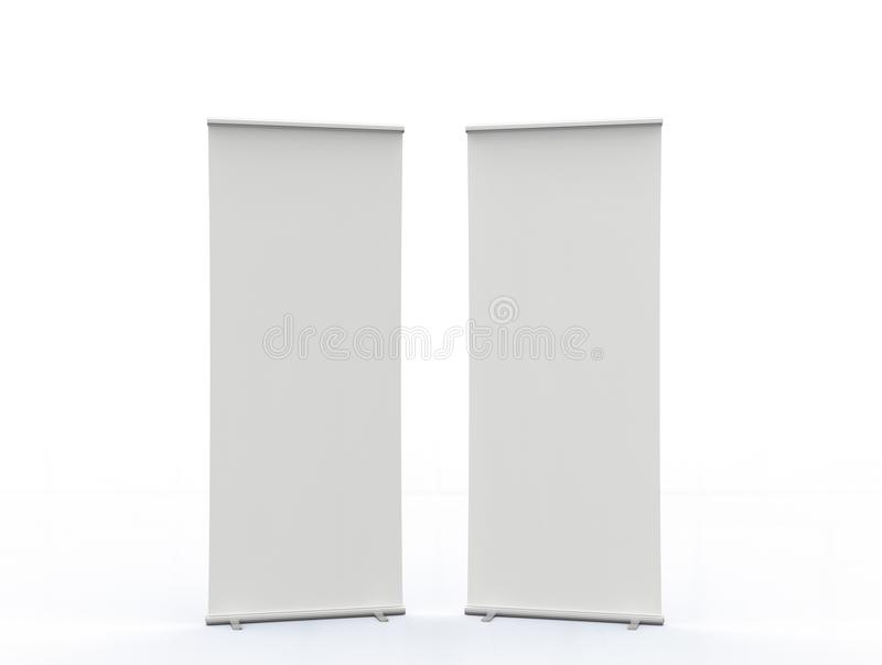 Empty roll up banners royalty free stock photography