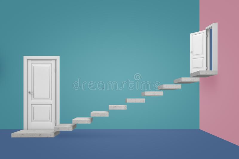 3d rendering of an empty room with two doors and marble steps suspended in the air leading from one door upward to the stock photography