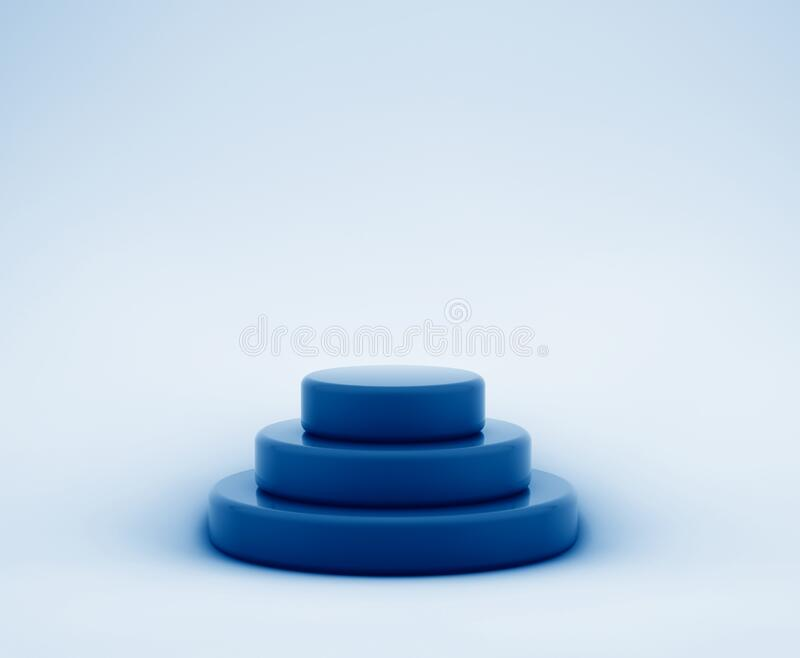 3D rendering of empty round stage pyramid toned in trendy Classic Blue color of the Year 2020 stock illustration