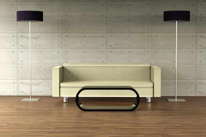 An empty wall on a modern apartment with modern furniture self designed royalty free illustration