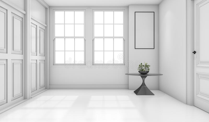 3d rendering empty white classic bathroom with mock up royalty free illustration