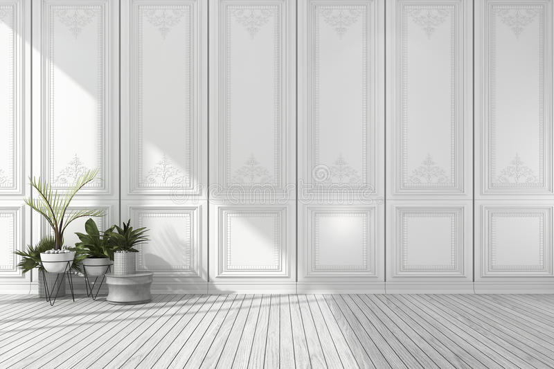 3d Rendering Empty White Classic Room With Nice Wall Panel
