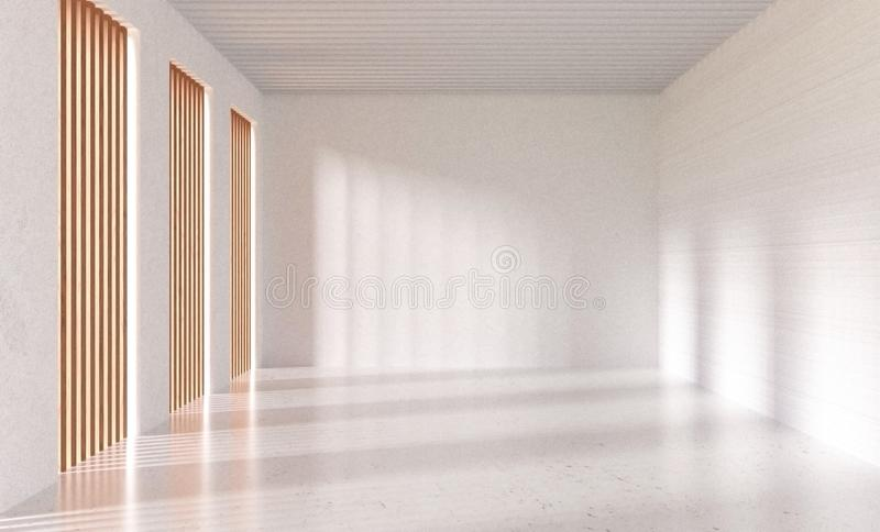 3d rendering Empty white room with whitewashed floating marble flooring and wooden window. Loft style interior scene for mock up you can put you picture of text royalty free illustration
