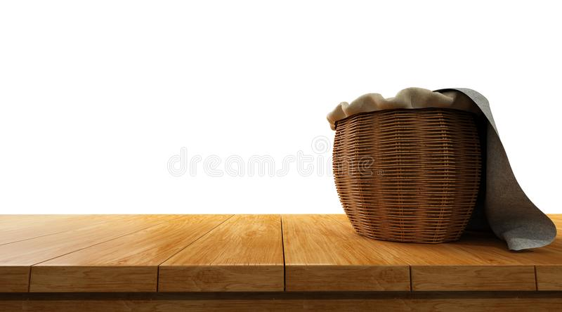 empty wooden table top isolated on white background with basket on top of it royalty free stock photography