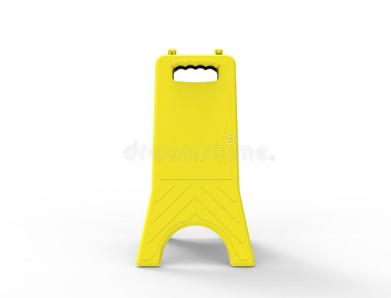 3d rendering of a empty yellow wet floor sign isolated in white background stock illustration