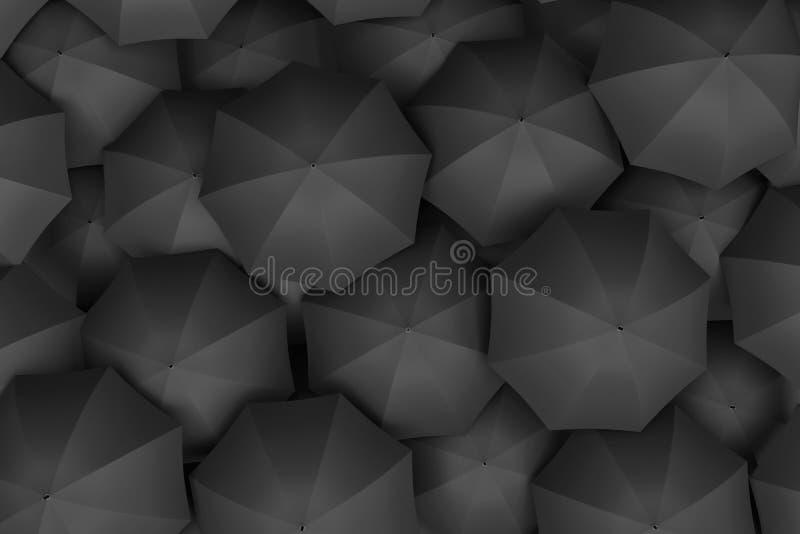 3d rendering of endless amount of similar black umbrellas. stock illustration