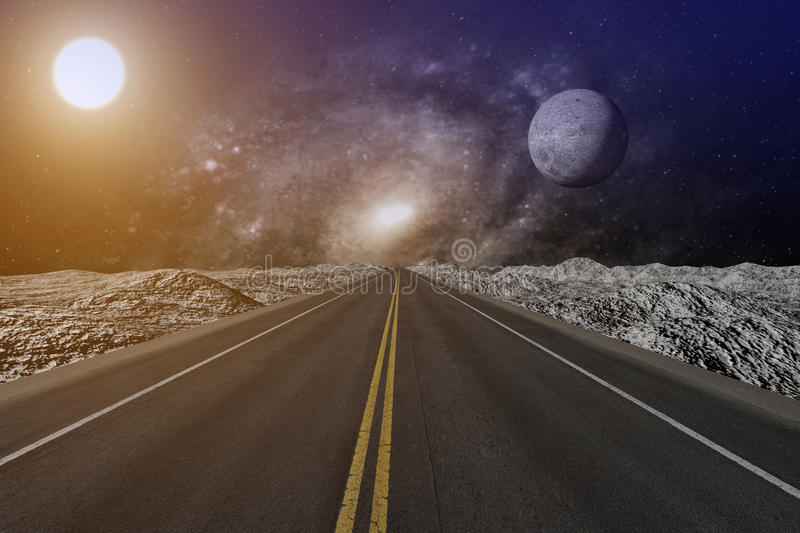 3D rendering from a endless road which ends in a nebula sky with moon and sun royalty free illustration