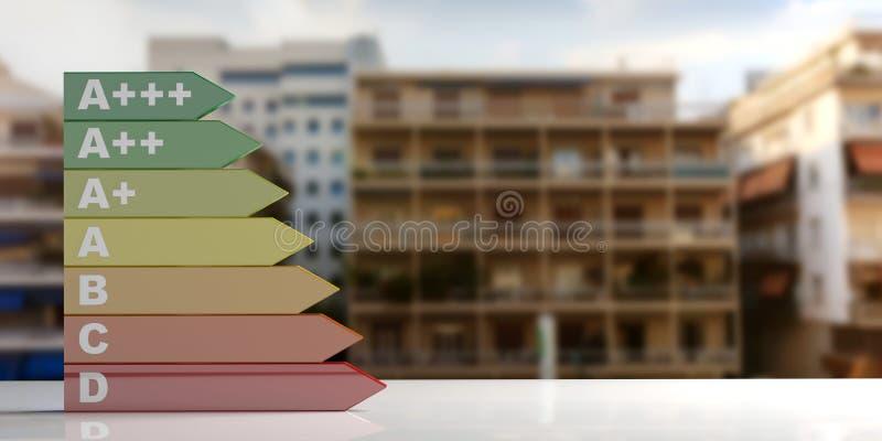 3d rendering energy efficiency rating. 3d rendering energy efficiency classification on blurred city background stock illustration