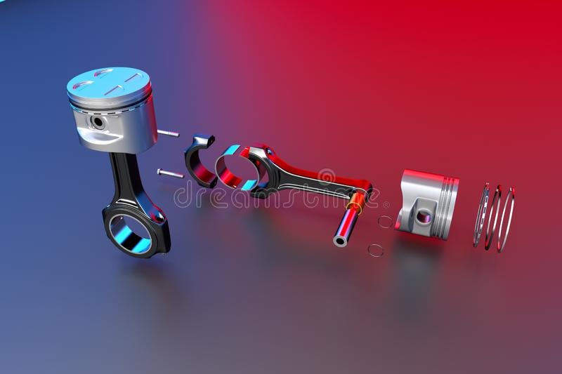3D rendering. Engine piston with piston rings. Truck pistons on multicolored background. Pistons and piston rings with engine bearings royalty free illustration