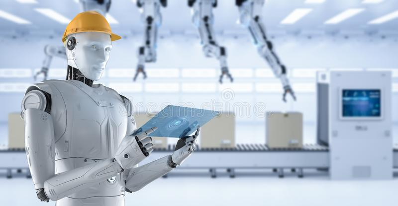 Engineer robot with tablet vector illustration