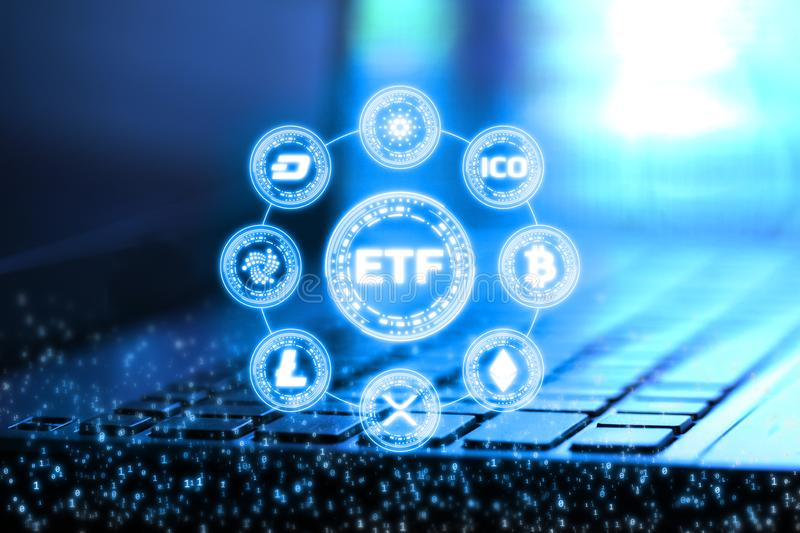 3D Rendering of ETF Exchange Traded Fund and digital binary numbers overlay on blur notebook and keyboard. royalty free illustration
