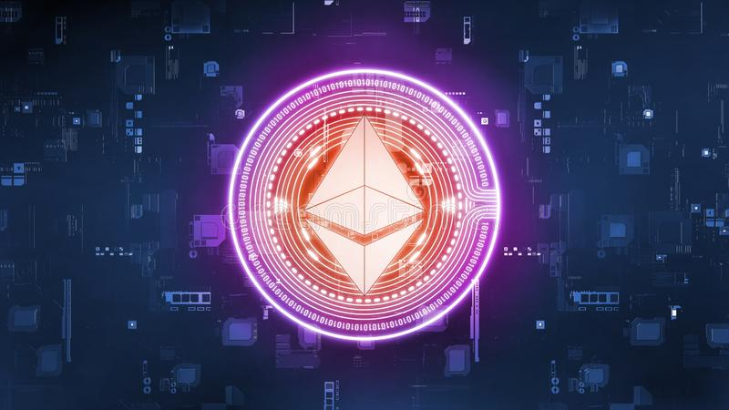3D Rendering of ethereum coin ETH on computer circuit board. royalty free illustration
