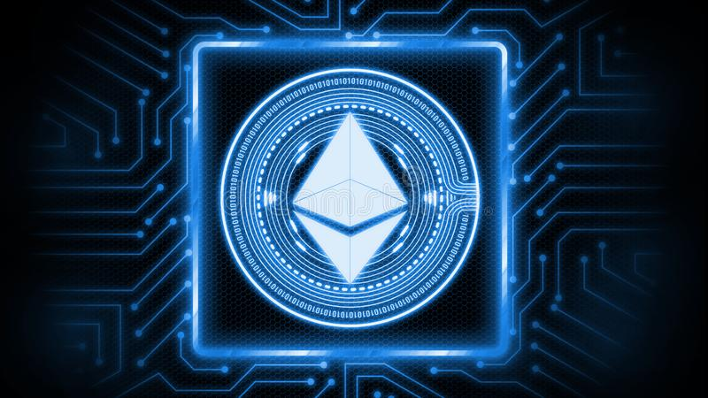3D Rendering of ethereum coin ETH on computer circuit board. vector illustration