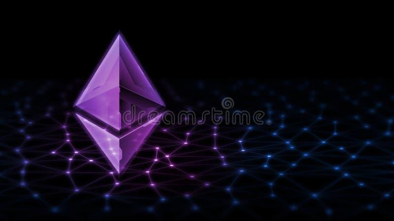 3D rendering Ethereum ETH jarzy się dowodzonego hologram na Komputerowych abstrakcjonistycznych dane binarnym tle fotografia stock