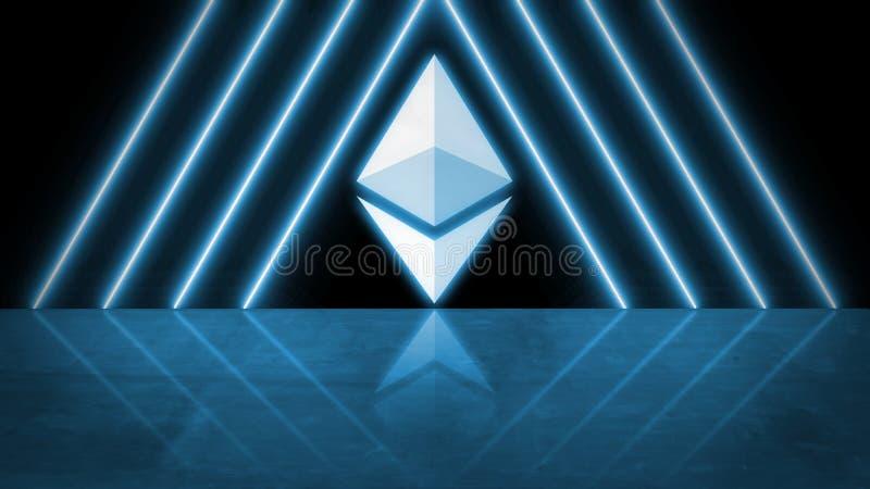 3D rendering ethereum moneta ETH z błękit łuną prowadził światło i odbicie na podłogowym tle royalty ilustracja