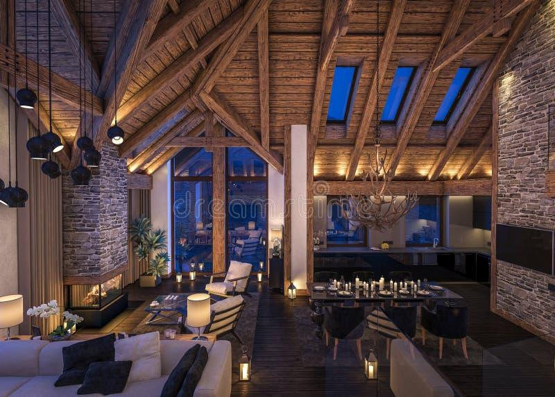 Download 3D Rendering Of Evening Living Room Of Chalet Stock Image - Image of living, floor: 79744647