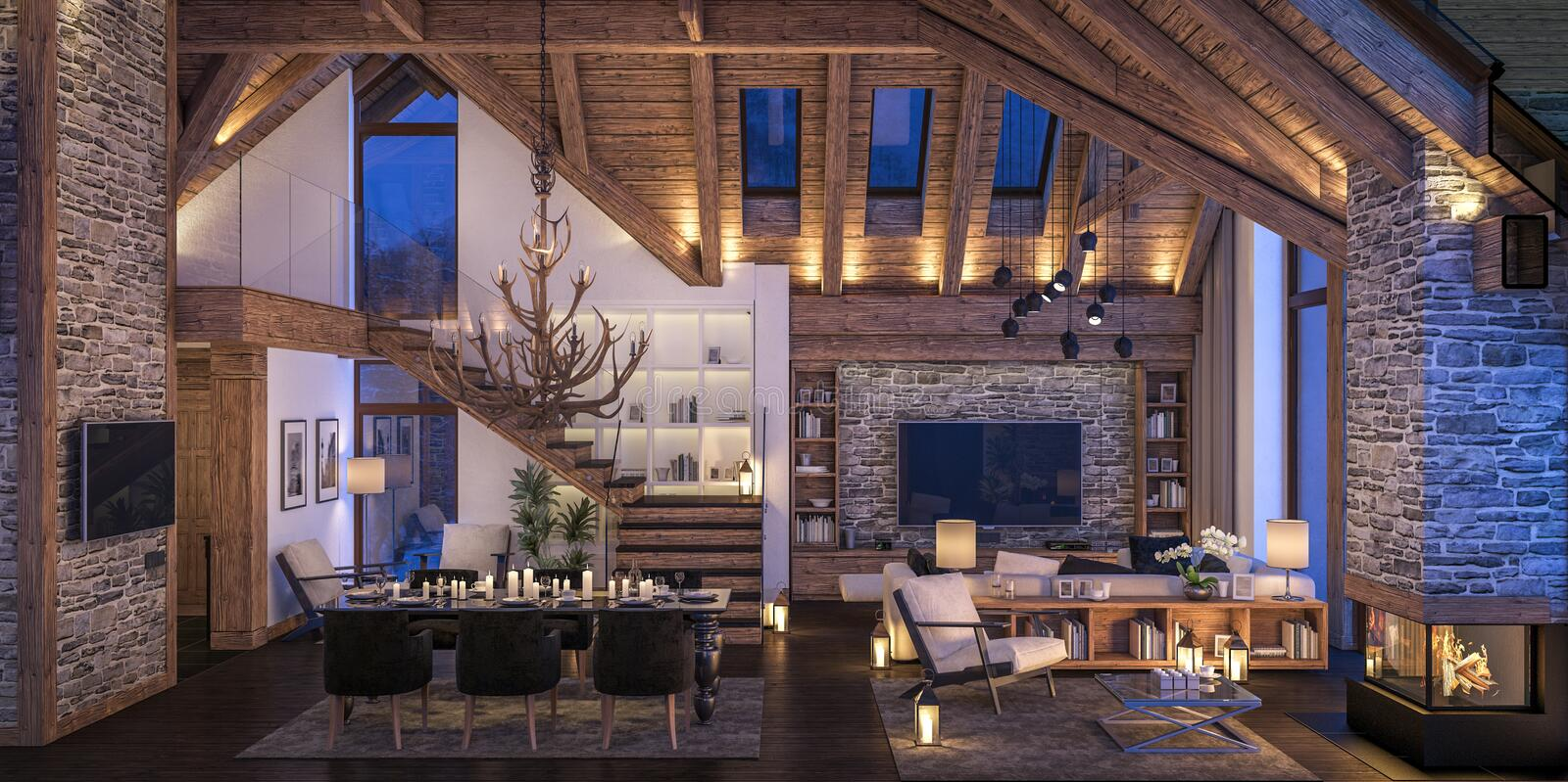3D rendering of evening living room of chalet stock illustration