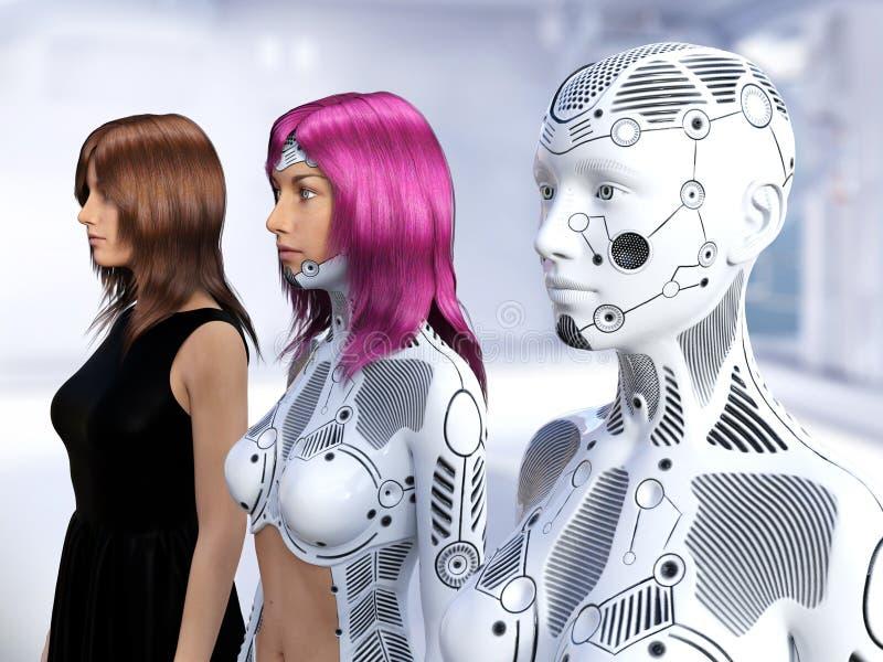 3D rendering ewolucja żeńscy roboty royalty ilustracja