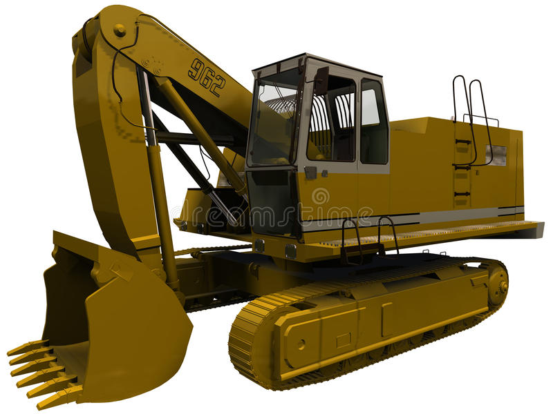Download 3d Rendering Of An Excavator With Claw Retracted Stock Illustration - Illustration of heavy, work: 32083869